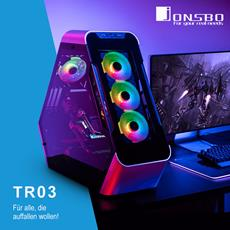 Caseking präsentiert futuristische Jonsbo TR03-Showcases in Dreiecksform mit USB Typ C!