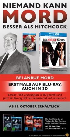BEI ANRUF MORD 3D und DER FREMDE IM ZUG ab 19. Oktober 2012 bei Warner Home Video Germany!