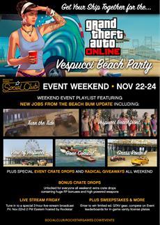 Rockstar Games News: Vespucci Beach Party - GTA Online Social Club Event-Wochenende